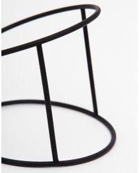 ASOS - Black Fine Bar Cuff Bracelet - Lyst