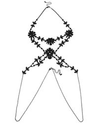 Oasis | Black Facet Flower Body Chain Harness | Lyst