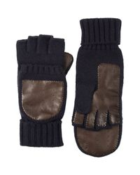 Barneys New York - Blue Knit & Leather Convertible Fingerless Gloves for Men - Lyst
