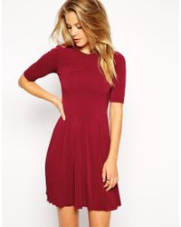 ASOS - Red Skater Dress With Pleat Detail Skirt - Lyst