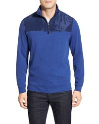 Bugatchi - Blue Long Sleeve Quarter Zip Knit Sweatshirt for Men - Lyst