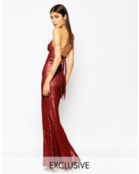 Club L | Red Tie Back Sequin Maxi Dress With Thigh Split | Lyst