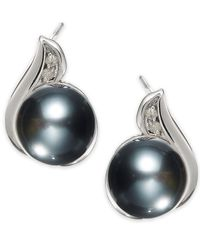 Macy's - Metallic 14K White Gold Tahitian Pearl (8Mm) And Diamond Accent Earrings - Lyst