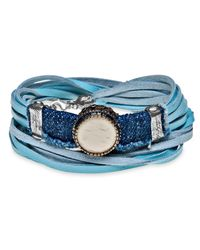 Platadepalo - Blue Leather & Denim Bracelet - Lyst