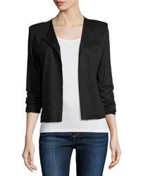 Neiman Marcus - Black Linen-silk Open-front Cardigan - Lyst