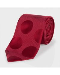 Paul Smith - Red Polka Dot Classic Silk Tie for Men - Lyst