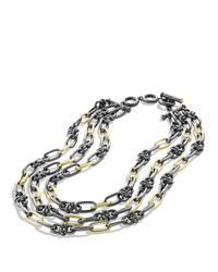 David Yurman | Metallic Black & Gold Five-row Link Necklace With Gold | Lyst