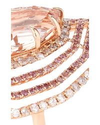 "Shawn Ames - One-Of-A-Kind ""Rainbow"" Table Cut Morganite With Round Brilliant Pink Sapphires And Round Diamond Ring - Lyst"
