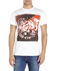 DIESEL | White Short Sleeve Graphic Tee for Men | Lyst