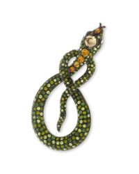 Kenneth Jay Lane | Green And Topaz Snake Brooch | Lyst