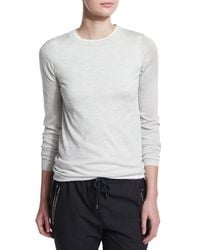 Brunello Cucinelli - Gray Long-sleeve Crewneck Sweater - Lyst