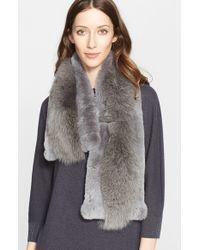 Fabiana Filippi - Gray Genuine Rabbit & Fox Fur Scarf - Lyst