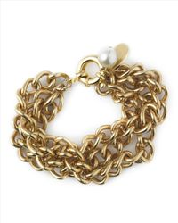 Jaeger - Metallic Pearl And Coin Chain Bracelet - Lyst