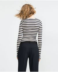 Zara | Black Long Sleeve Ribbed Top | Lyst