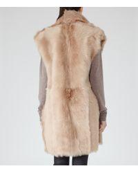 Reiss - Pink Lexi Reversible Shearling Gilet - Lyst