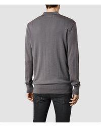AllSaints | Gray Mode Merino Long Sleeved Polo for Men | Lyst