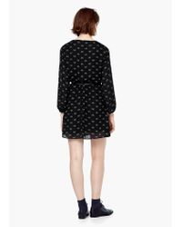 Mango - Black Belt Printed Dress - Lyst