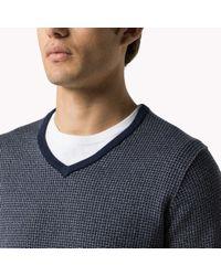 Tommy Hilfiger | Blue Wool Cotton Blend V-neck Sweater for Men | Lyst