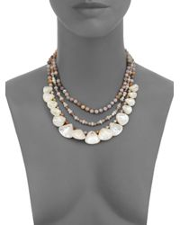 Chan Luu | Metallic Mother-of-pearl & African Opal Multi-strand Necklace | Lyst