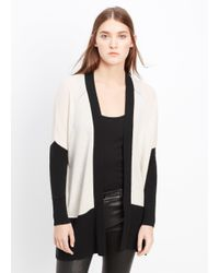 Vince | Natural Cashmere Colorblock Pointelle Trim Cardigan | Lyst