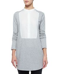 Vince - Gray Long-sleeve Mixed-media Top - Lyst