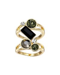 Guess - Metallic Stone Cluster Knuckle Ring - Lyst