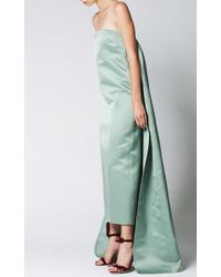 Katie Ermilio - Green Watteau Pleat Column Gown - Lyst