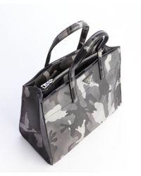 Prada - Gray Grey Military Saffiano Leather Convertible Small Tote - Lyst