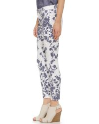 7 For All Mankind | White Floral Print Skinny Jeans | Lyst