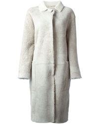 Sofie D'Hoore - Gray Shearling Coat - Lyst