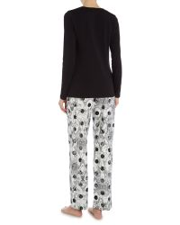 DKNY - Black Logo Top And Printed Pant Pj Set - Lyst