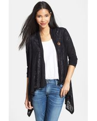 Bobeau | Black Lightweight One-button Asymmetrical Cardigan | Lyst