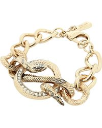 Roberto Cavalli | Metallic Jewelled Serpent Chain Bracelet | Lyst