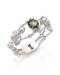 Alexander McQueen | Green Twin Skeleton Crystal Bracelet/silvertone | Lyst