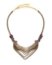 Erickson Beamon | Metallic Velvet Underground Crystal Draped Chain Bib Necklace | Lyst