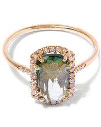 Suzanne Kalan | Metallic Gold Barrel Green Envy Topaz Ring | Lyst
