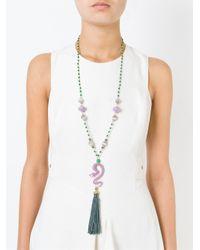 Katerina Psoma - Multicolor Snake Tassel Pendant Beaded Necklace - Lyst
