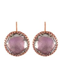 Larkspur & Hawk | Purple Olivia Gold-washed Topaz Button Earrings | Lyst
