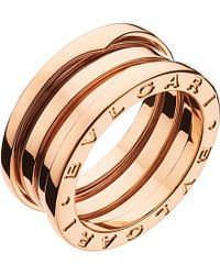 BVLGARI | B.Zero1 Three-Band 18Ct Pink-Gold Ring - For Women | Lyst