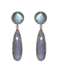 Adornia | Gray Labradorite And Champagne Diamond Metropolitan Earrings | Lyst