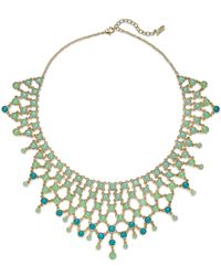 ABS By Allen Schwartz | Gold-tone Round Blue & Aqua Stone Drama Collar Necklace | Lyst