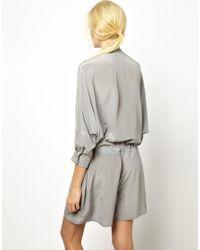 Antipodium - Gray Lounge Lover Silk Playsuit - Lyst