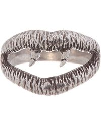 Saint Laurent - Metallic Distressed Silver Lip Ring for Men - Lyst