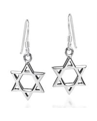 Aeravida | Metallic Mystical Star Of David .925 Sterling Silver Earrings | Lyst