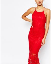 Lipsy | Red Allover Lace Cami Strap Maxi Dress | Lyst