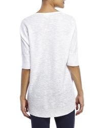 Eileen Fisher - White Deep V-Neck Linen Sweater - Lyst