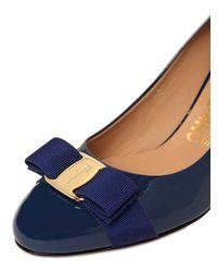 Ferragamo - Blue 70mm Carla Patent Leather Pumps - Lyst