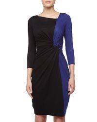Paule Ka - Blue Twistfront Twotone Dress Cobaltblack - Lyst