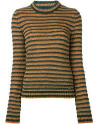 DIESEL - Green Striped Round Neck Sweater - Lyst