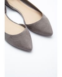 Forever 21 | Gray Pointed Faux Suede Flats | Lyst